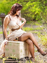 Wonderful country woman with big tits and stockings