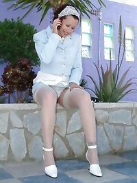 busty lady in wet stockings, heels and silk blouse