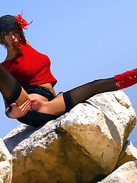Fiery Milf Lily in black stockings and red boots