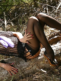 Sexy MILF in nylons is ready for sex in the wood