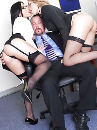 Two hot office sluts Rebecca Linares and Jenny Hendrix