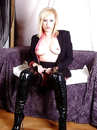Office blonde Axajay leaves on her business suit whilst..