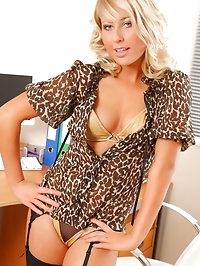 Gorgeous blonde looks sensational in her leopard print..