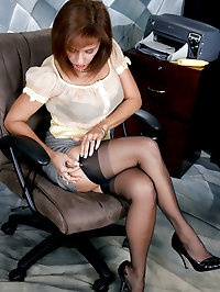 Beautiful Roni showing her newest black stockings