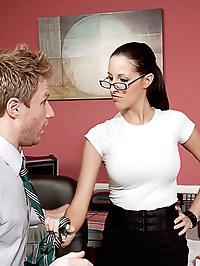 Kortney Kane enjoys her lunch break at work by having her..