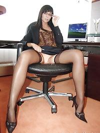 Hot office babe Suzy in sheer dark stockings