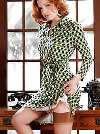 Hot redhead office babe dressed in sexy lingerie and..
