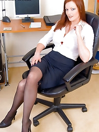 Red Hot Secretary Holly Kiss Plays Hard in Stockings