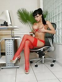 Secretary Aletta Ocean in red lingerie and stockings
