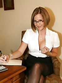 Naughty Secretary in Sexy Lingerie Strips Down