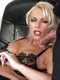Leggy Lana takes a facial from a business man while fully..