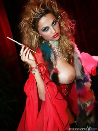 Big boobs curly hair smoking babe in lingerie