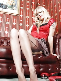 Red Stiletto Heels and Seamed Stockings