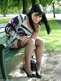 Horny Nicola loves being outdoors in her high heels