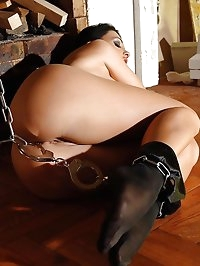 Brunette gets chained and tied up
