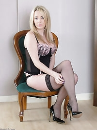 Stunning blonde Tina in her house wearing lingerie,..