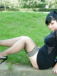 Gorgeous babe with black hair shows off her lacey..