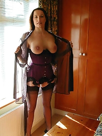 Jane feels horny in hotel so wears her sexy nylons