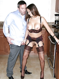 HotWifeRio puts on a pair of stockings and garters then..