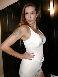 Gorgeous Jane shows off her new white stockings