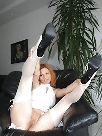 posing and flashing in white nylons