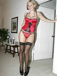 Sexy Naughty Milf Wife In Hot In Red Satin Bustier,..