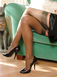 Sexy girl next doors shows her stockings and heels