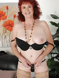 50 year old Surely from AllOver30 elegantly gets naked..
