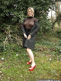Daniella looking slutty outside in sheer top and stockings