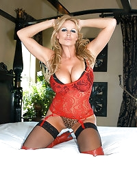 Kelly gets tied up in bed in sexy red lingerie and thigh..