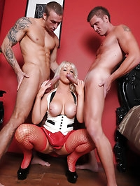 Becs loves to get in the middle of two hard cocks and get..