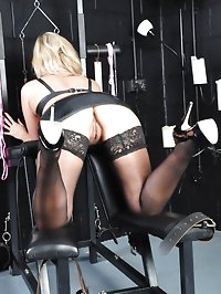 Sexy blonde Mistress is bound and ball gagged then forced..