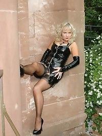 heel fun in shiny pvc and nylons