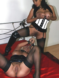 Sexy Lana tied up and teased by horny Lezdom