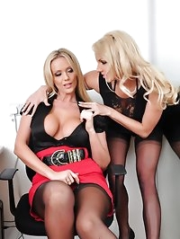 Hot bitch boss torments and forces her hot blonde office..
