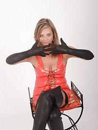 Hot Milf in full leather gear putting on her soft delicate..