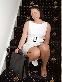 Amber L from AllOver30 stops on the stairs to toy her..