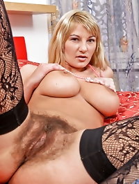 Milf Vanessa Sweets pleasures her hairy bush pussy wearing..