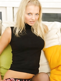 Gorgeous blonde Sam K in black secretary outfit with..