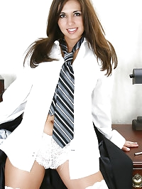 Busty office MILF Toni Maddux takes a breaks to strip off..