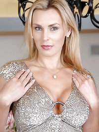 Big titted Tanya Tate slips off her evening wear and..