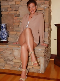 Beauty adores beige high heels with nylon