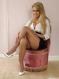Horny blonde girl wearing some stunning white high heels