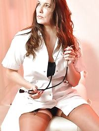 Jane is dressed in a sexy nurses outfit and showing off..