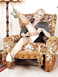 Alina wear classic dress, stockings and high heels