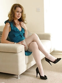Hot Milf Alison shows off her silky smooth nylon legs and..