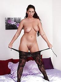 31 year old Lisa Sparkle slide out of her black lingerie..