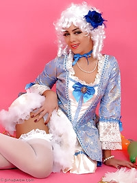 Saucy brunette in fancy dress costume performs a very..