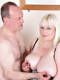 Jo Juggs gets her melons and cunt fucked