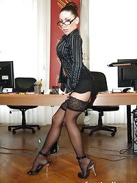 Office slut Mya Diamond in black stockings teasing